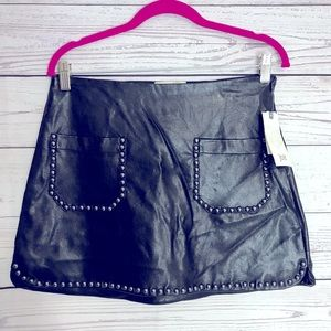 Jolt Black Vegan Leather Studded Skirt